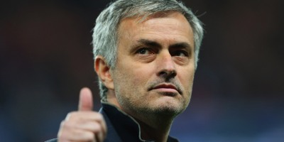 Manchester United boss Jose Mourinho gives a thumbs up to the fans