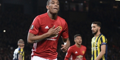 Manchester United's Anthony Martial celebrates scoring a goal