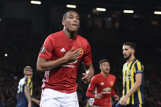 Manchester United's Anthony Martial celebrates scoring a goal