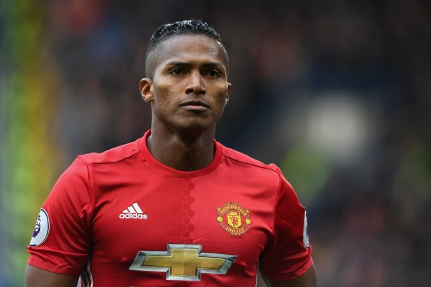 Manchester United's Antonio Valencia is as serious as ever