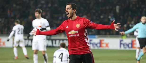 Manchester United's Armenian international, Henrik Mkhitaryan celebrates scoring a goal