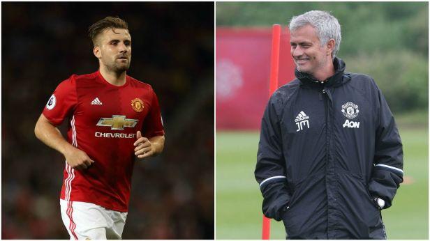 Manchester United's Luke Shaw and Jose Mourinho